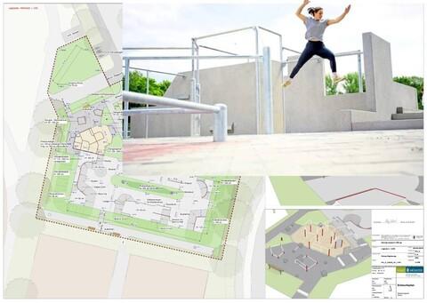 Parkour Anlage Hiltrup-Süd Montage: Ausführungsplanung, Zustand nach Fertigstellung