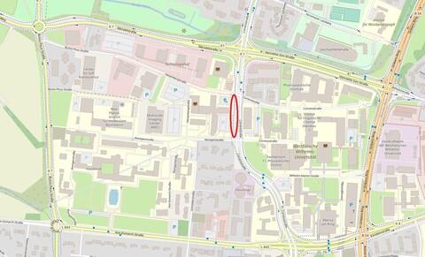 Das CorrensLab entsteht auf dem rot markieten Teil der Corrensstraße auf zwei der vier Fahrspuren.