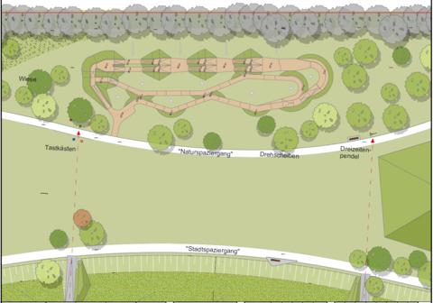 Der aktuelle Entwurfsplan für den im neuen Landschaftspark gelegenen Dirt-Bike-Park im York-Quartier (siehe oberer Bildrand).