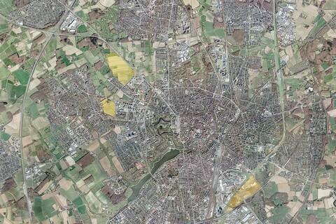 Die Lage der drei neuen Zukunftsquartiere in Münster. Datenlizenz Deutschland – Land NRW / Stadt Münster (2017/2019) – Version 2.0